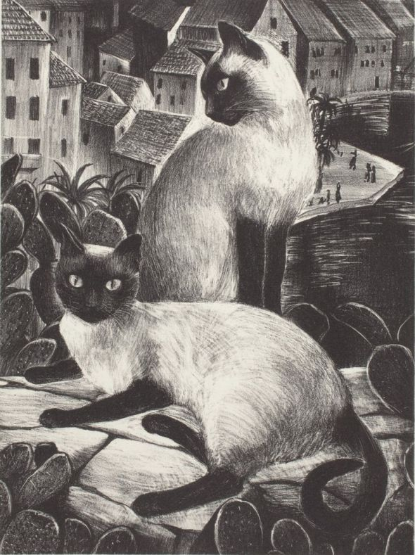 The Sailor's Cats, lithograph - Agnes Tait
