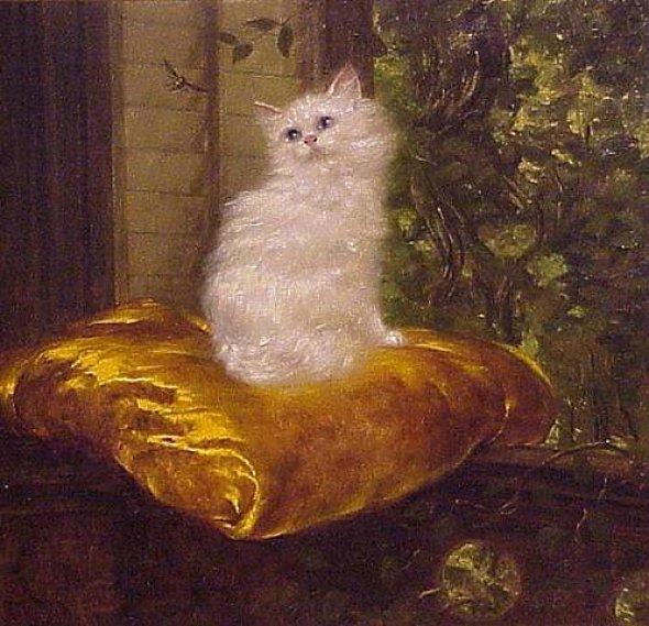 White Cat on Gold Cushion, Carl Kahler