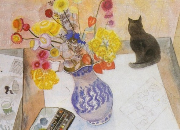 Cat with Everlasting Flowers, Edward Bawden