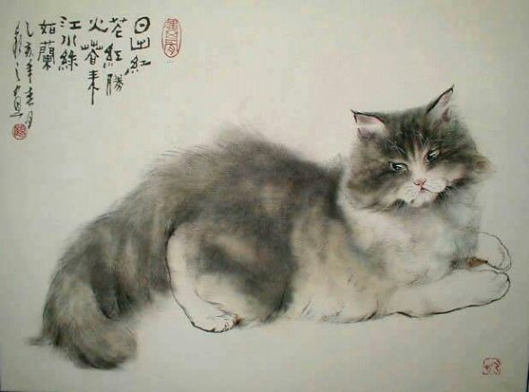 Gu Yingzhi, Cats in Asian art