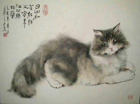 Gu Yingzhi, Cats in Asian art