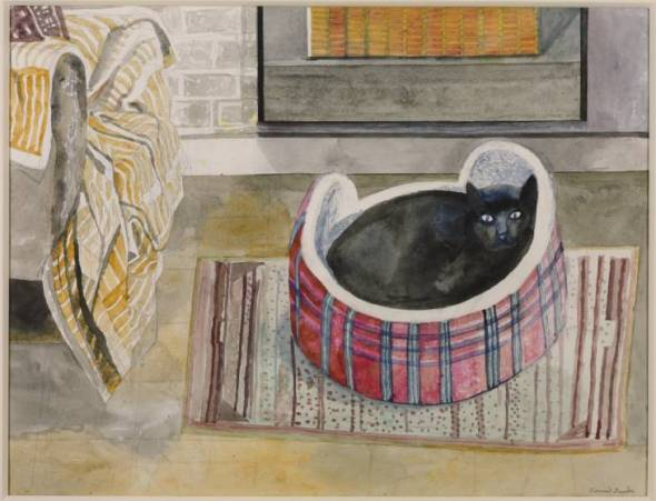Emma Nelson by the Fire 1987, Edward Bawden cat art