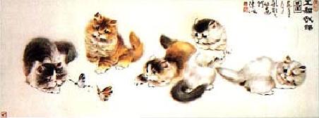 Five Cats with Butterflies, Gu Yingzhi