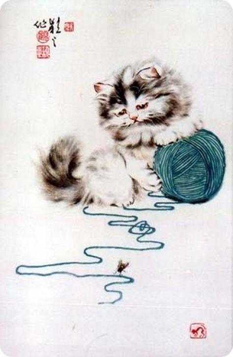 Gu Yingzhi, Kitten with string, Chinese
