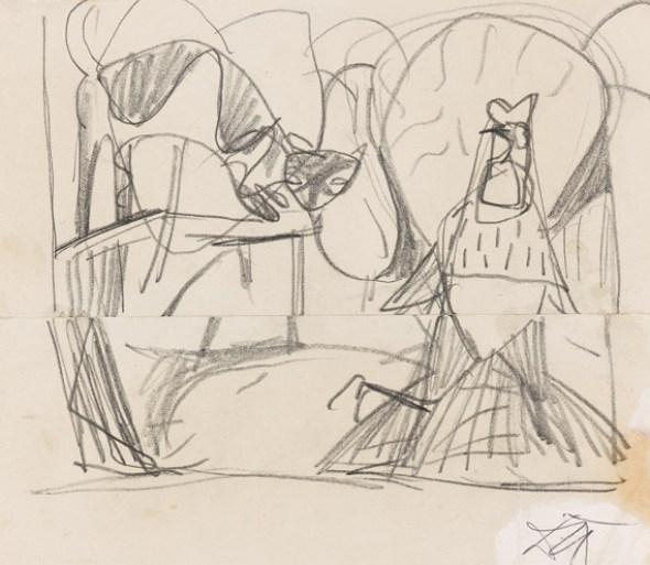 Otto Dix, Katze und Hahn sketch