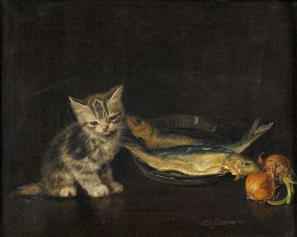 Kitten with Two Fish. Meta Pluckebaum