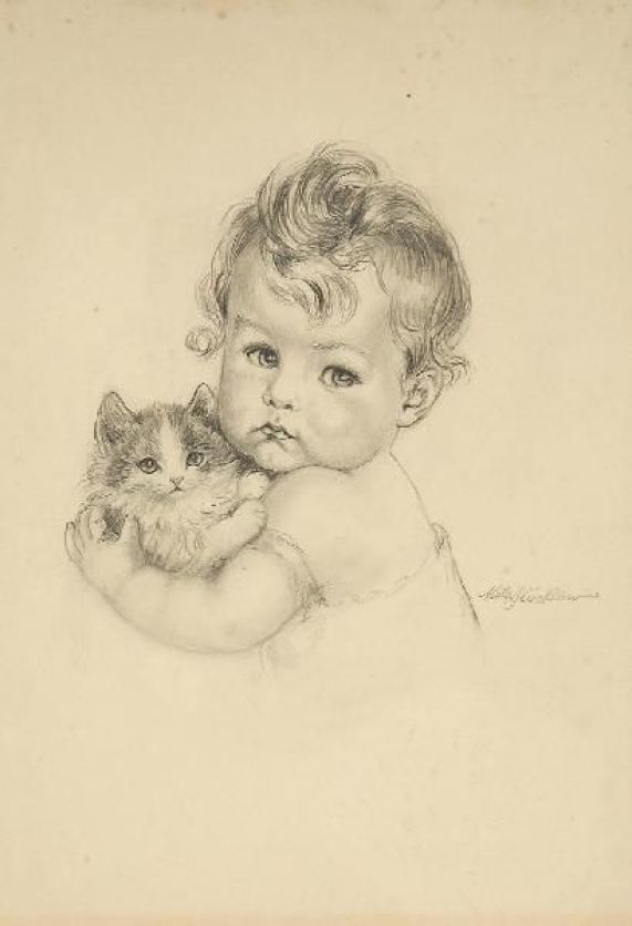Child with Kitten, Meta Pluckebaum