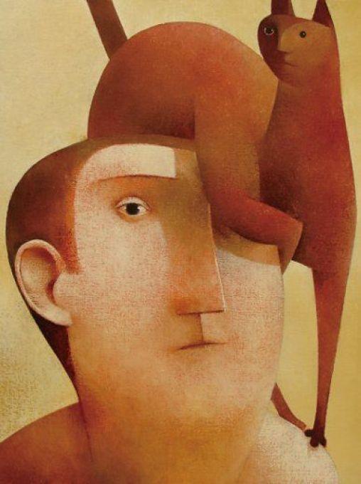 Cat on a Man's Head, Peter Harskamp