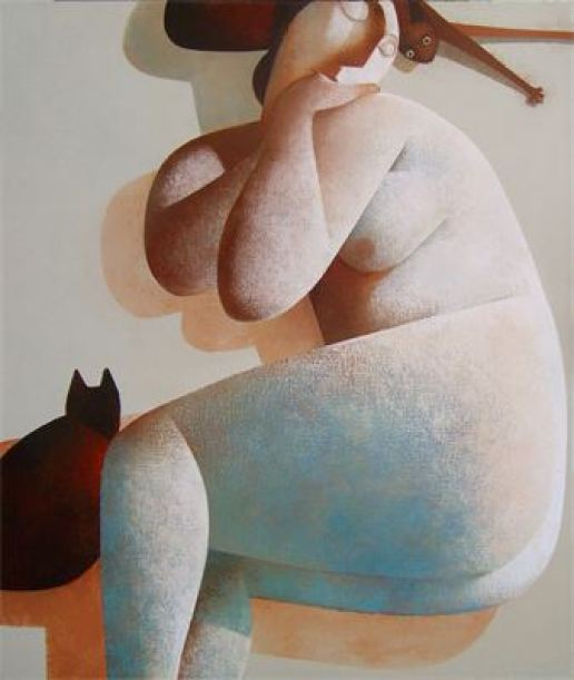 Nude with Cat, Peter Harskamp