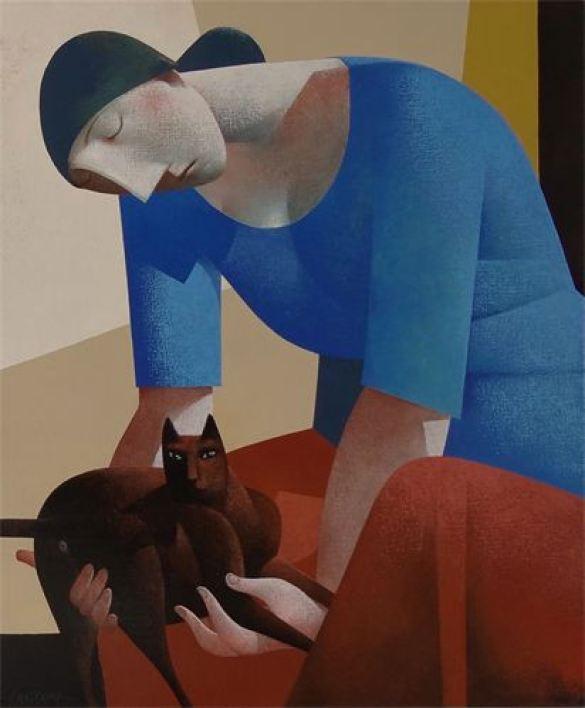 Woman Holding a Cat, Peter Harskamp