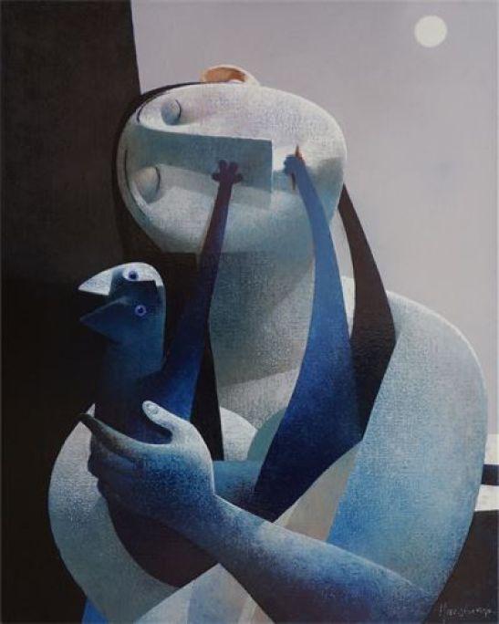 Blue Cat with Blue Woman, Peter Harskamp