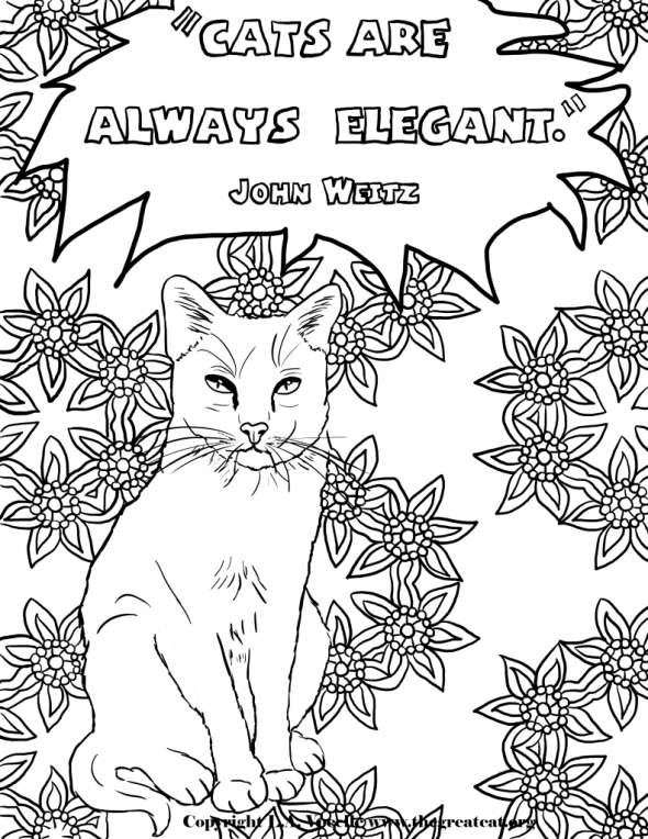 Cats are Always Elegant-Copyright L.A. Vocelle, free coloring pages, cat coloring books