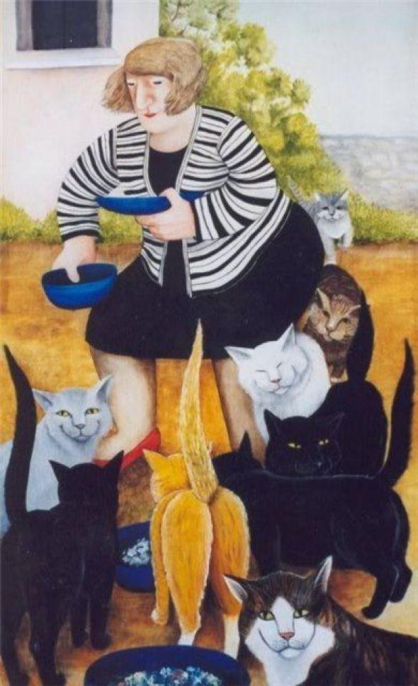Beryl Cook, Cat Lady Feeding the Cats
