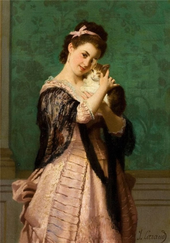 Woman with cat - Joseph Caraud