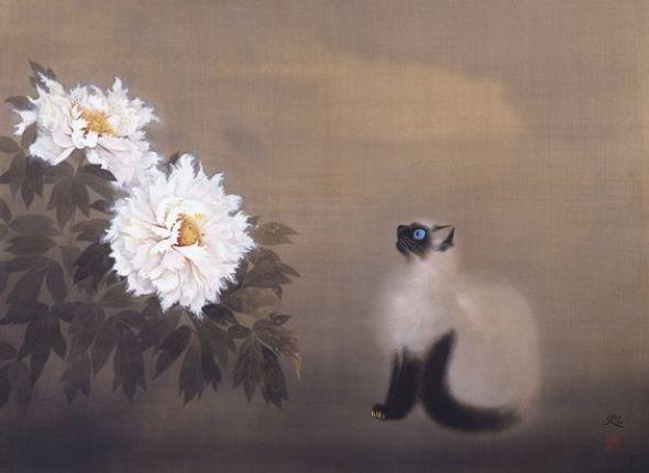 Cat and Flowers, Matazo Kayama