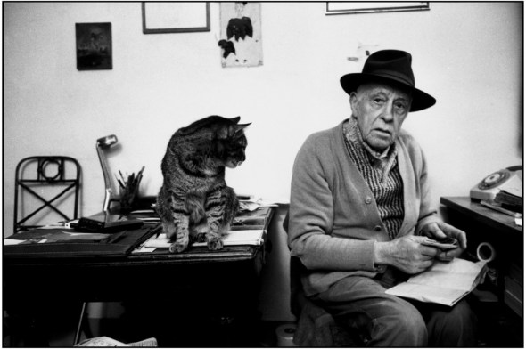 Swiss sculptor Diego Giacometti with Cat at home Martine Franck