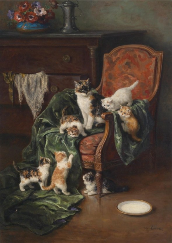 Cat Family-Mother and Kittens, Marie Yvonne Laur