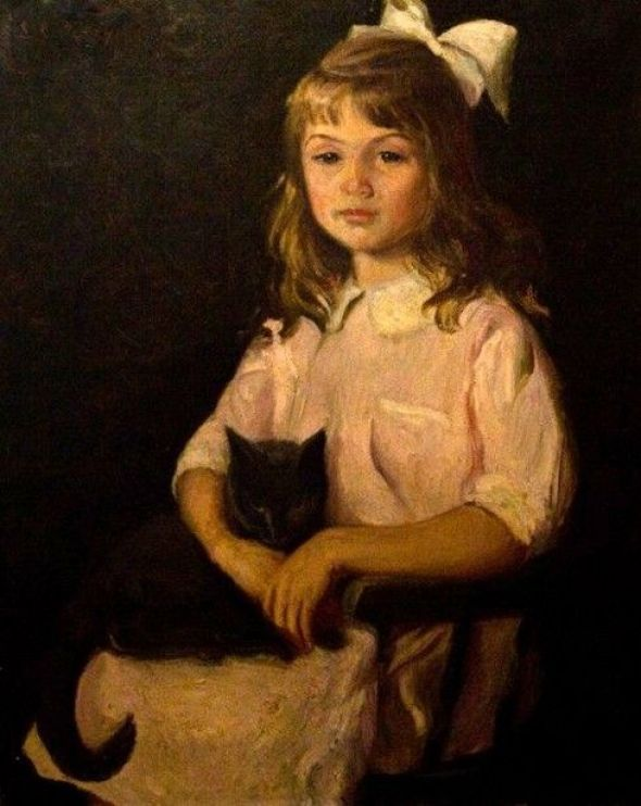 Lilla Cabot Perry (1848 – 1933, American) - Portrait of the artist's daughter with a cat