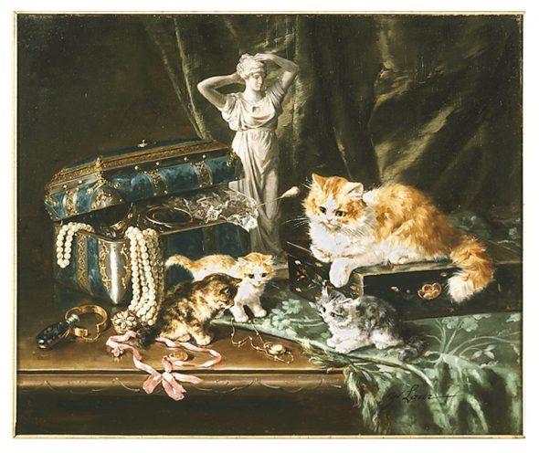 Three Kittens Playing with Jewelry, Marie Yvonne Laur, Yo Laur