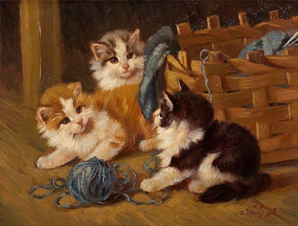 Kittens Playing with Yarn, Benno Kogl