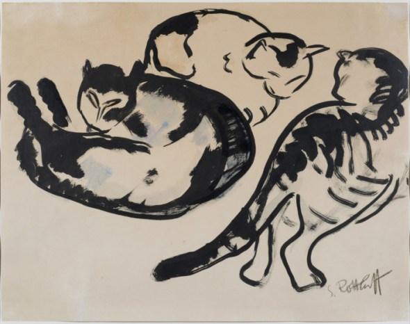 Schmidt-Rottluff-Drei-Katzen, Three Cats