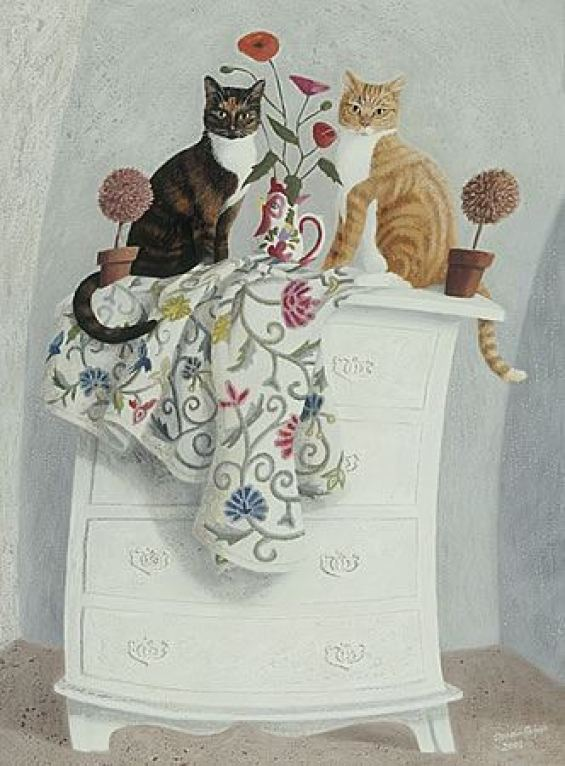 Ophelia Redpath, Two Cats on a Chest of Drawers