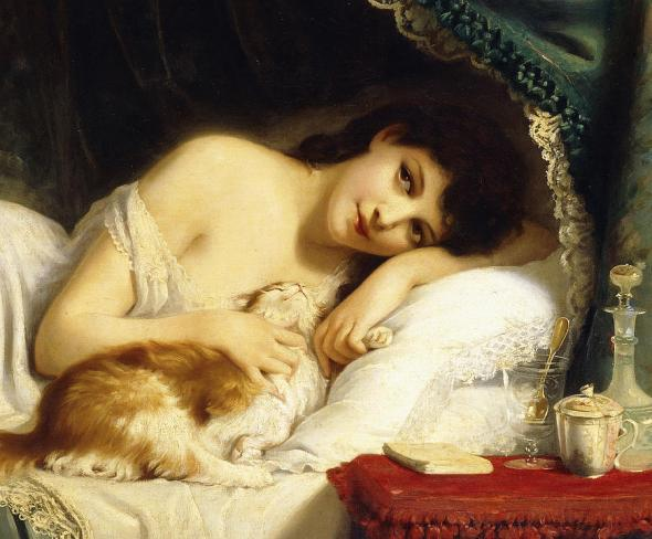 A Reclining Beauty With Her Cat Painting by Fritz Zuber-Buhler