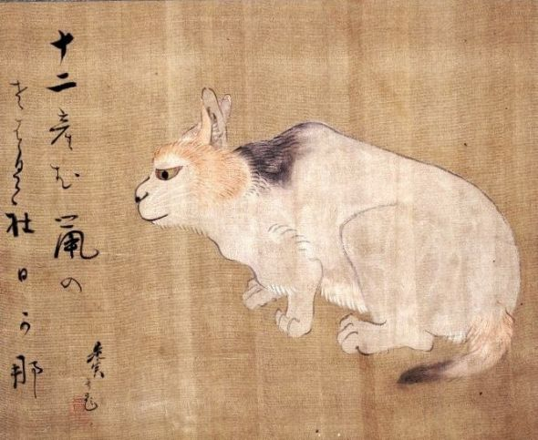 Cat, Shibata Zeshin (1807-91) Japanese Hanging Scroll Ink and colors on silk British Museum