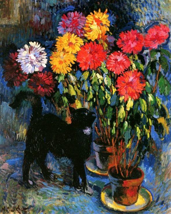 Dahlias and Black Cat Nicolas Tarkhoff - 1907