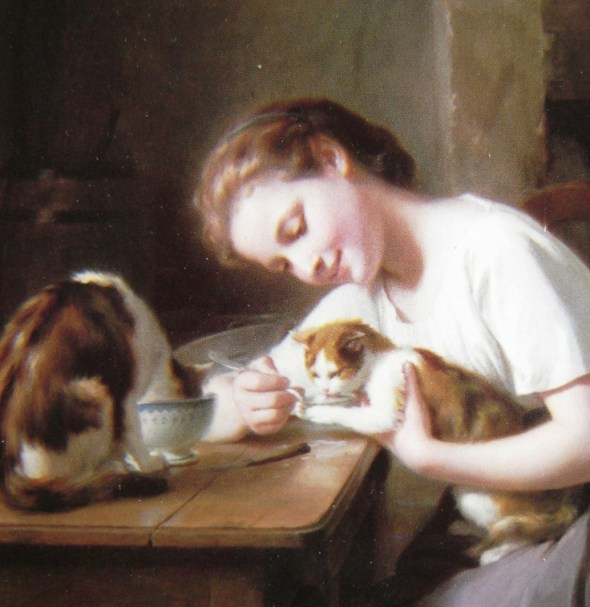 Fritz Zuber-Buhler (1822-1896) - Girl with cats (detail)