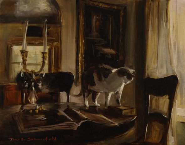 Jonelle Summerfield, Dining Room Table with Cat and Books