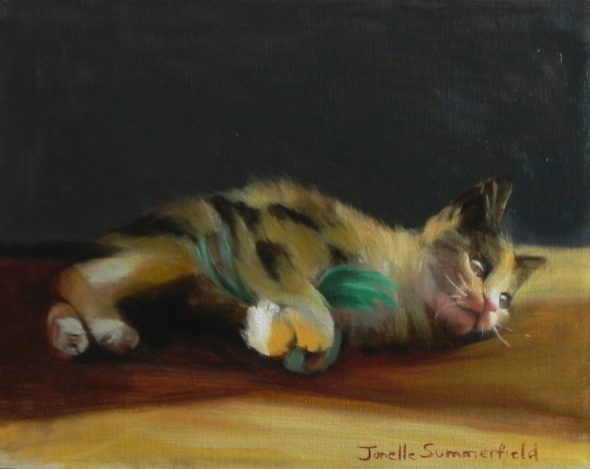 Jonelle Summerfield, Kitten with Green Feather Toy