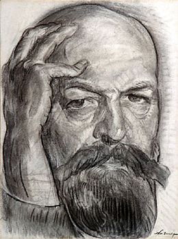 Nicholas Tarkhoff, Self-portrait, cat art