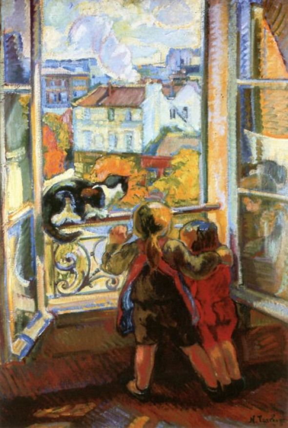 Nicolas Tarkhoff (Russian, 1871-1930), Two Children and Cat by the Window, 1907