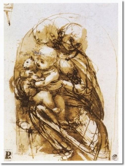 Studies of a Virgin, Child and Cat, Leonardo Da Vinci