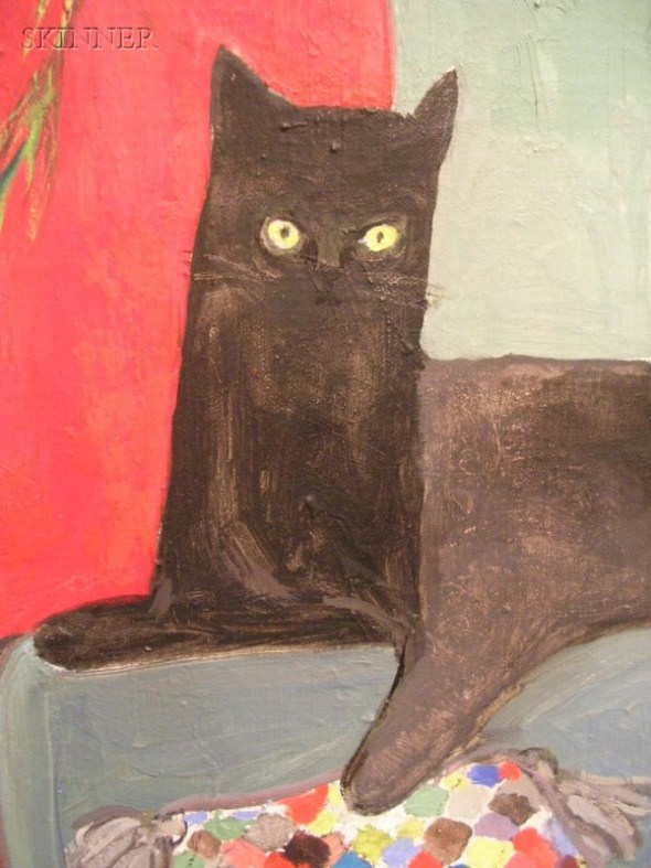Black Cat on a Couch Detail, Dorothy Lake Gregory