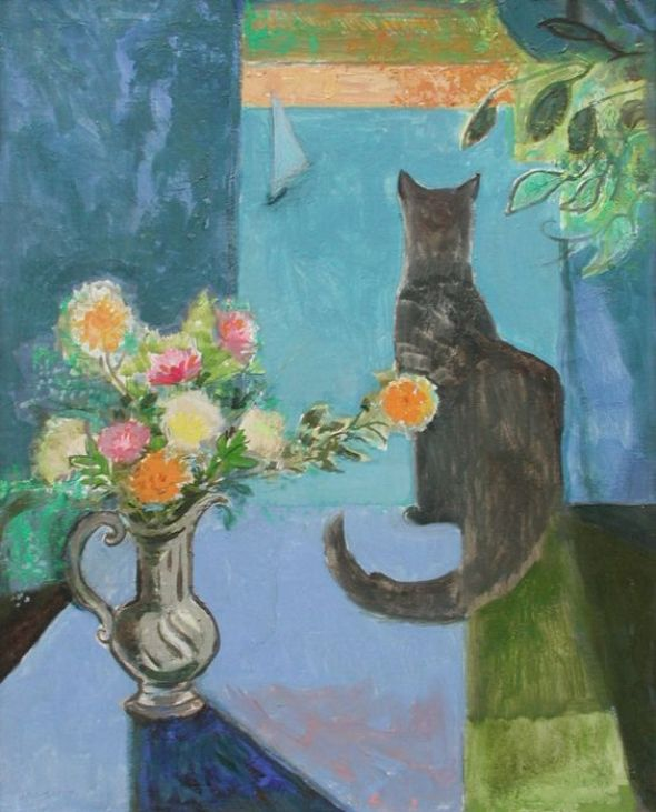 Cat Looking out of a Window, Dorothy Lake Gregory Moffett