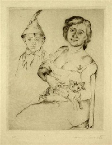 Frau mit Katze und Tiroler Bub, 1911, Lovis Corinth