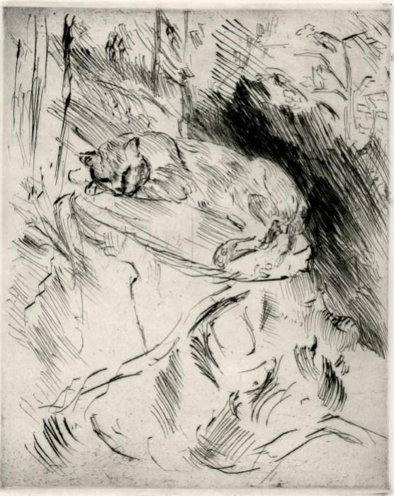 Lovis Corinth, Katze auf Baumsrunk, 1920