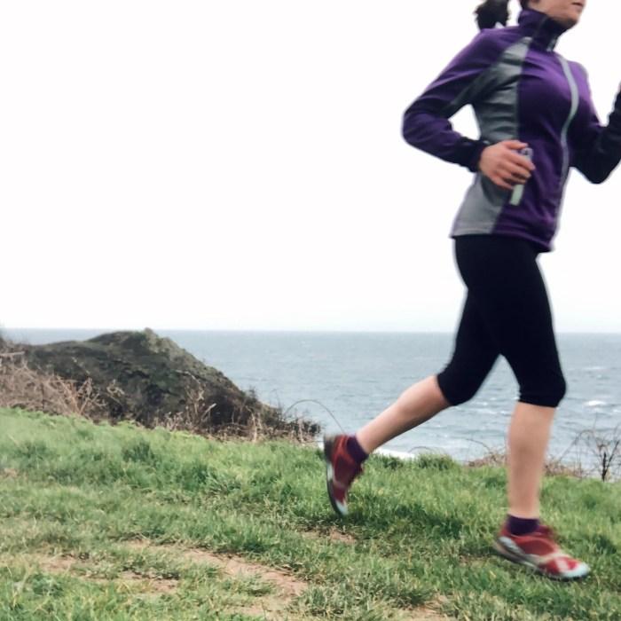 Running Woman Cornwall Coast