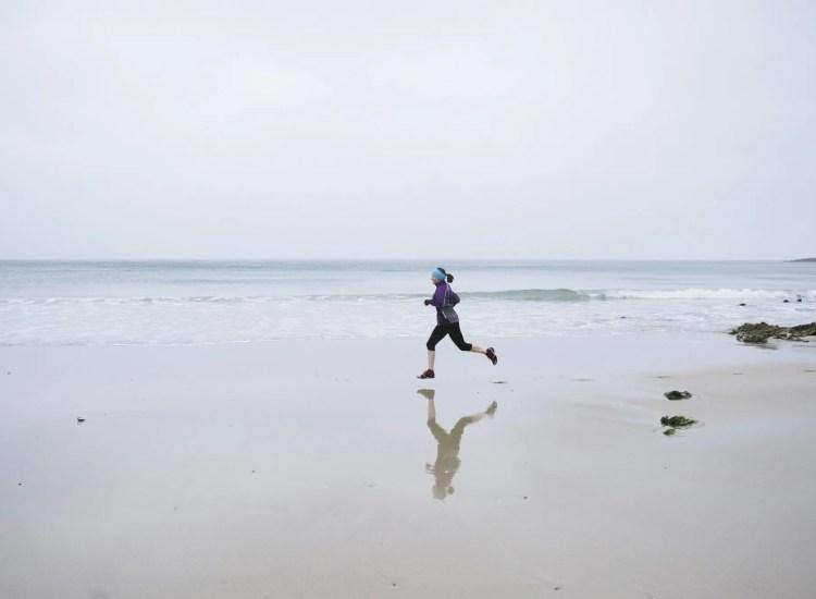 Lady running on beach