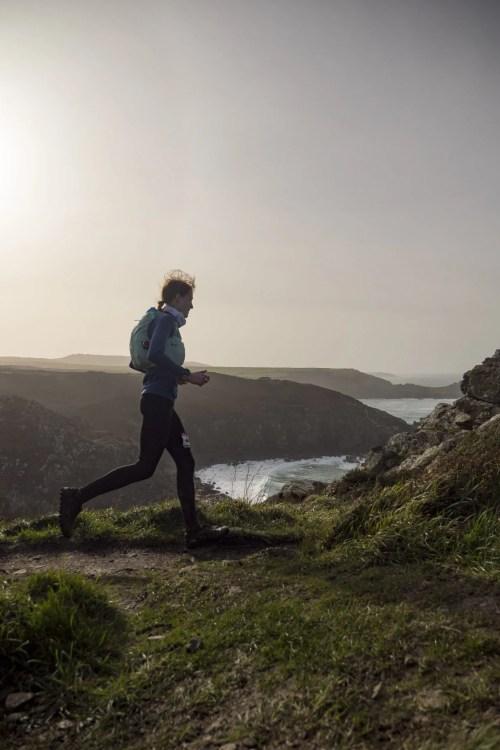 Female ultra runner cornwall coast AoA