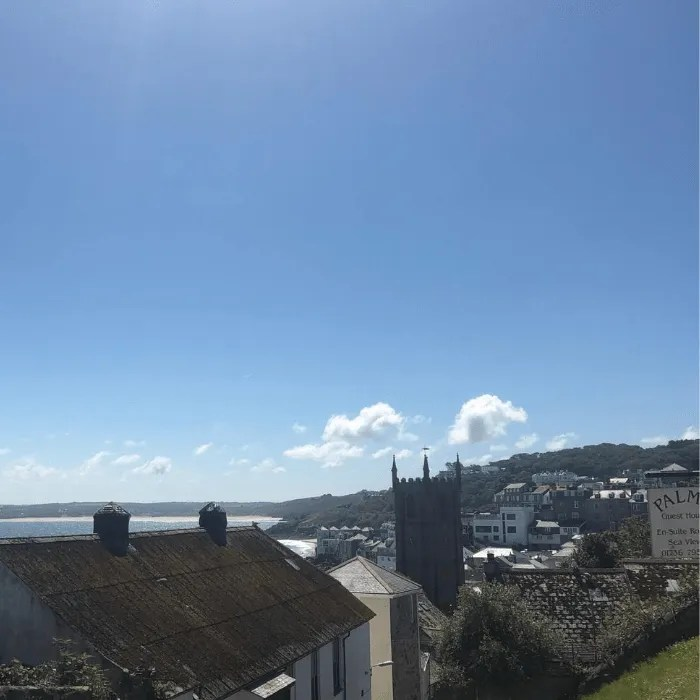 View of St Ives Cornwall from the hill