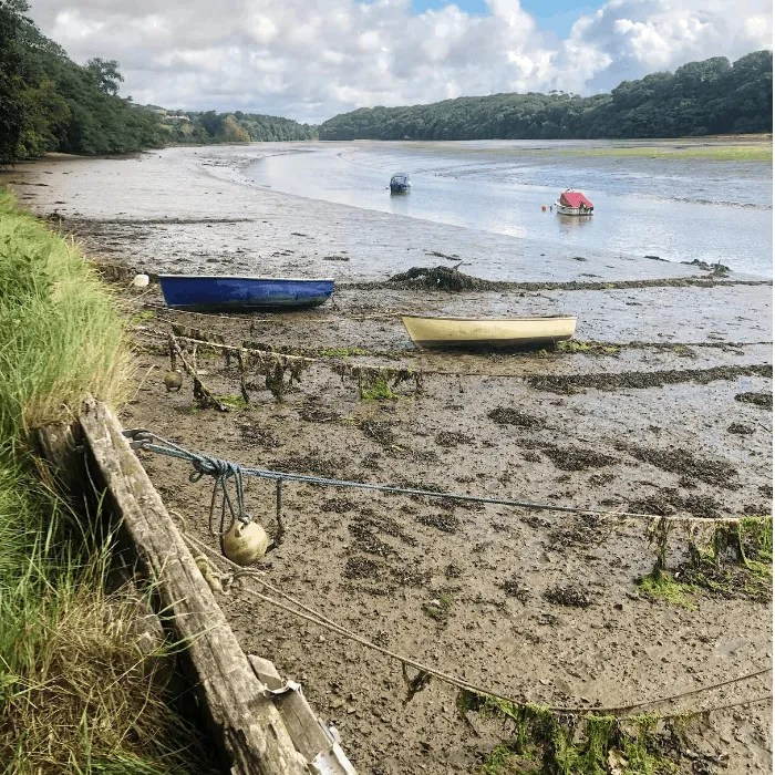 Fishing boats on an estuary at low tide