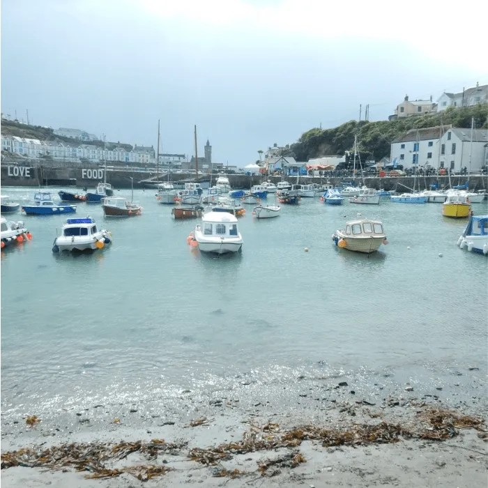 Porthleven Harbour with boats