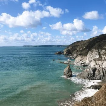 The South West Coast Path from Hemmick Beach Cornwall