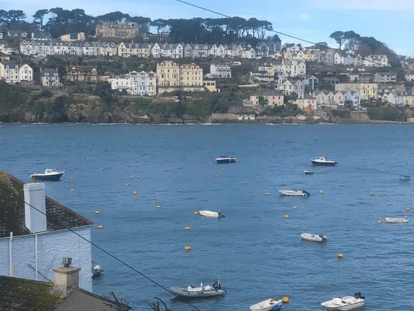 Fowey in Cornwall from Polruan with boats on the water