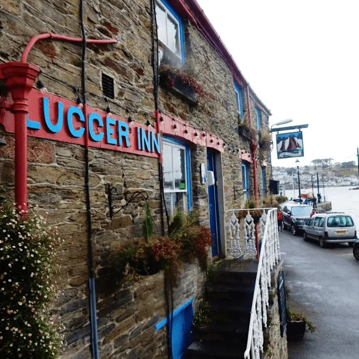The Lugger Inn and harbour in Polruan