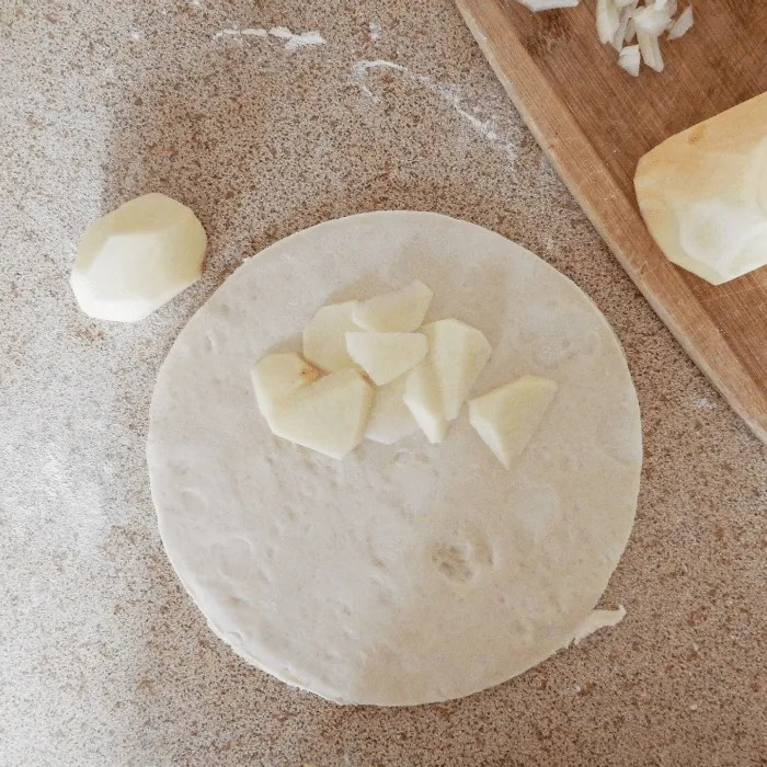 building a pasty the pastry with potato