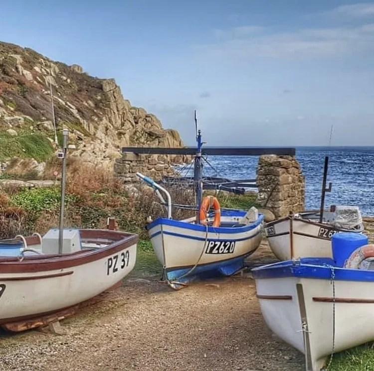 3 boats at Penberth Cove, Cornwall